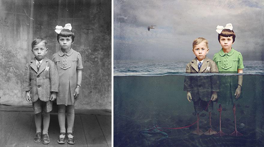 Художница превращает старинные фотографии в крышесносящие иллюстрации