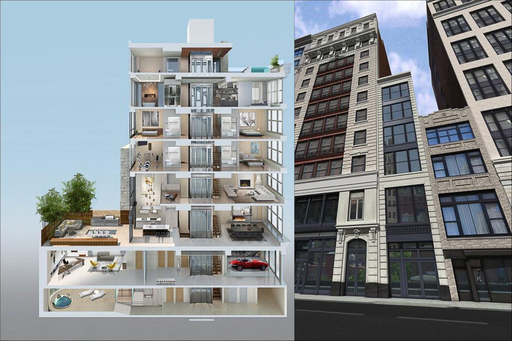 В центре Нью-Йорка построят абсурдно узкий и роскошный семиэтажный таунхауз