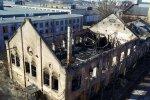 Foto: Ugunsgrēka plosītā ēka pie 'Elkor Plaza' Brīvības gatvē