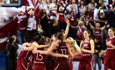 Latvijas basketbolistes saspringtā cīņā uzveic Lietuvas izlasi