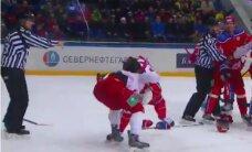 Video: Enerģiska dūru cīņa CSKA un 'Vitjazj' spēlē