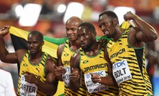 The Jamaican relay team (L-R) Nesta Carter, Asafa Powell, Nickel Ashmeade and Usain Bolt
