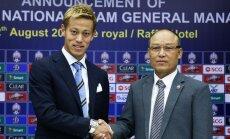 Japānas futbolists Honda kļuvis par Kambodžas valstsvienības galveno treneri