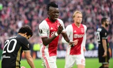 Ajax forward Bertrand Traore scores vs Olympique Lyonnais UEFA Europa League semi-final
