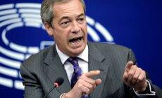 Pēc desmitgades tagadējās Eiropas vairs nebūs, pauž 'Brexit' kampaņas līderis Farāžs