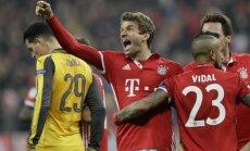 'Bayern' sagrauj 'Arsenal' Čempionu līgas astotdaļfināla pirmajā spēlē; droša uzvara arī 'Real Madrid'
