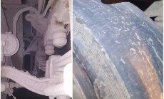 Foto: CSDD reidā Saldū apturēts kravas auto bez amortizatora