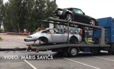 ФОТО, ВИДЕО: В CSDD пригнали целый трейлер с разбитыми автомобилями Porsche