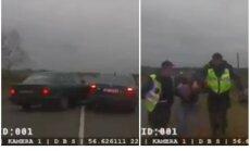 Video: Dobeles novadā BMW palīdz taranēt no policijas bēgošu auto