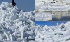 Foto: Iespaidīgie ledus krāvumi Mērsraga piekrastē