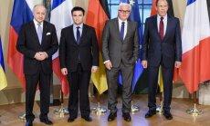 Karš Ukrainā: 'Normandijas četrinieks' Berlīnē vienojas turpināt smago ieroču atvilkšanu