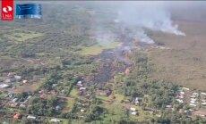 Lavas straume Havajas salā sagrāvusi pirmo māju