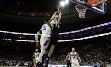 Bertānam deviņi punkti drošā 'Spurs' uzvarā pār '76ers'