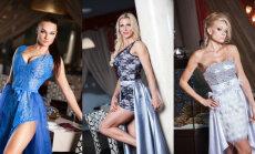 'Miss Fitness Model 2015' dalībnieces pozē vakartērpos un demonstrē sasniegtos rezultātus