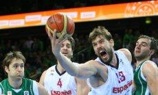 Spānijas basketbolisti pirmie iekļūst Eiropas čempionāta pusfinālā