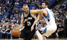 Bertānam neliels spēles laiks; 'Spurs' mača beigās uzvar 'Timberwolves'