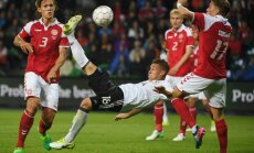 Germany Joshua Kimmich scores  Denmark Jannik Vestergaard and Jens Stryger Larsen