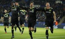 'Chelsea' bez rezultatīvā Kostas ierindā pārliecinoši uzvar Anglijas čempioni Lesteras 'City'
