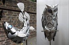 Художник делает потрясающие скульптуры из… колесных дисков и колпаков