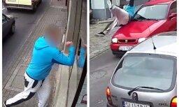 Video: Tūlītējā karma – veikala zagli Polijā notriec auto
