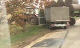 Incidents Varakļānos: kravas auto nesadala ceļu ar traktoru