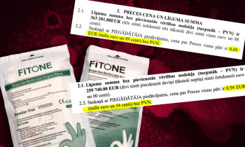 Medicīnas cimdu iepirkumi: viens ražotājs, divi starpnieki, cenas atšķiras par trešdaļu