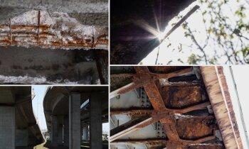 Ekskluzīvi foto: Drūpoši balsti un rūsas izgrauzta armatūra – aina zem Rīgas tiltiem