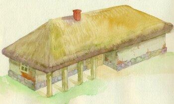 Māla kleķu sienas un niedru jumts – kā tika atjaunota Klaušinieku māja Turaidā