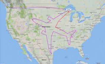Самолет нарисовал свой силуэт в небе над США