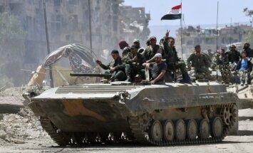 Karte: 'Daesh' evakuējas uz tuksnesi; Sīrijas spēki atkal kontrolē visu Damasku
