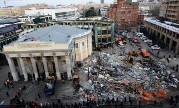 Foto: Varasiestādes visā Maskavā nojauc nelegālos tirdzniecības centrus