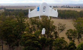 'Google Wing' sola pēc diviem gadiem sūtījumus piegādāt ar droniem