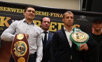 Briedis un Usiks ieradušies Rīgā uz Pasaules boksa supersērijas pusfinālu