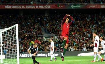 Latvijas futbola izlase Portuglālē Ronaldu