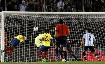 Ecuador s Frickson Erazo scores against Argentina