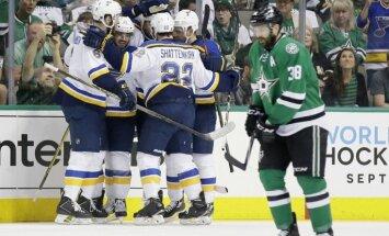'Blues' un 'Sharks' komandas pietuvojas Stenlija kausa pusfinālam; 'Capitals' samazina deficītu pret 'Penguins'