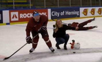 Video: Latvijas hokejisti sacenšas amizantos izaicinājumos