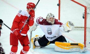 Latvijas hokejistiem vēl viens dramatisks zaudējums spēlē pret dāņiem
