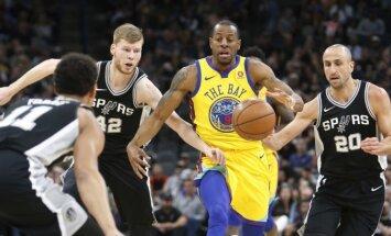 Bertānam pieci punkti 'Spurs' uzvarā pār traumu nomocīto NBA čempioni 'Warriors'