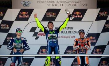 Pieredzējušais Rosi triumfē 'Moto GP' Spānijas posmā