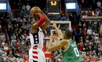 'Wizards' ar tālmetienu pēdējās sekundēs panāk izšķirošo spēli duelī pret 'Celtics'