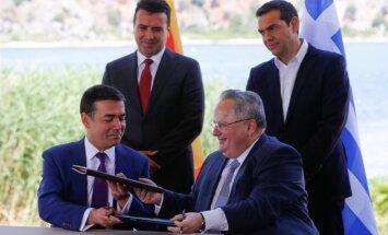 Grieķija un Maķedonija paraksta vēsturisku vienošanos par Maķedonijas jauno nosaukumu