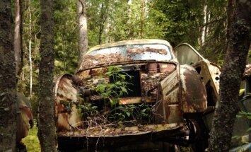 Amerikāņu auto kapsēta dziļi Zviedrijas mežos – vieta, kur tavus kliedzienus nedzirdēs