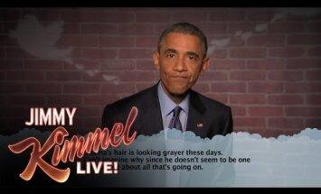 Video: Obama TV raidījumā lasa sev veltītos nejaukos 'tvītus'