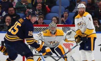 'Sabres' bez Girgensona 'sausā' piekāpjas NHL līderei 'Predators'