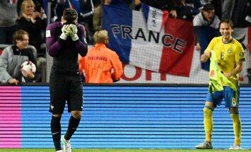 France goalkeeper Hugo Lloris reacts after goal from Sweden