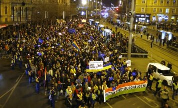 ФОТО: Накануне визита Путина в Будапеште прошла массовая акция протеста