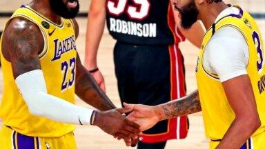 'Lakers' pirmajā NBA finālspēlē sagrauj savainojumu nomocīto 'Heat' komandu