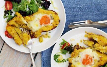 Saldajos kartupeļos ceptas olas