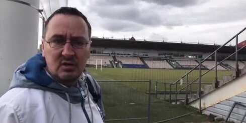 'Skonto' stadionā ieradušies parādu piedzinēji; oponenti dusmīgi